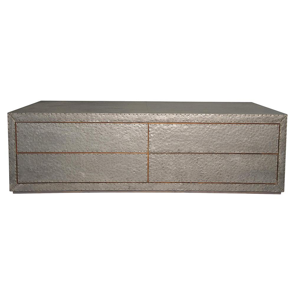 Caldwell Industrial Masculine Hammered Metal Coffee Table Kathy Kuo Home