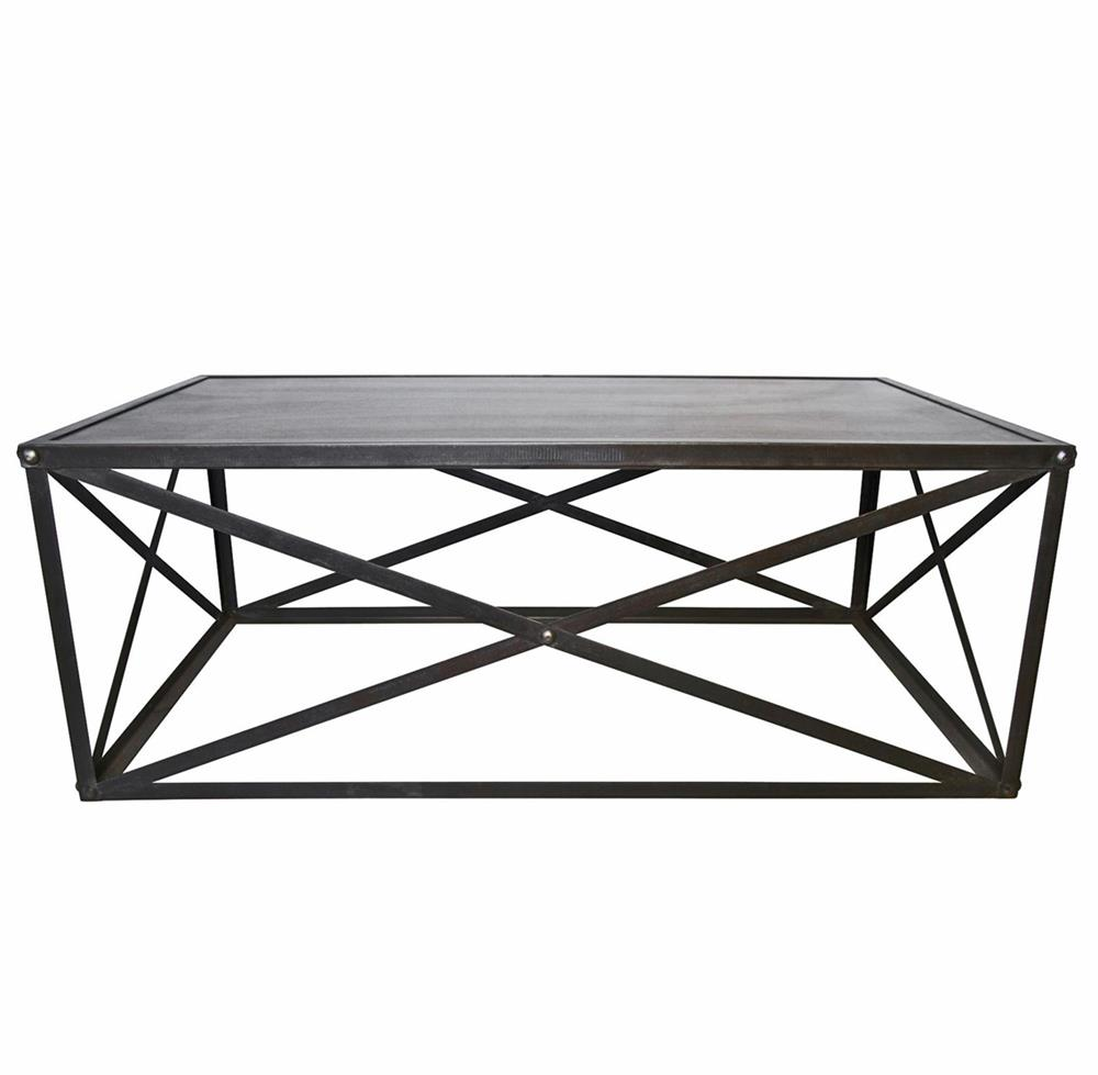 Crispin industrial style metal stone coffee table kathy for Stone and iron coffee table