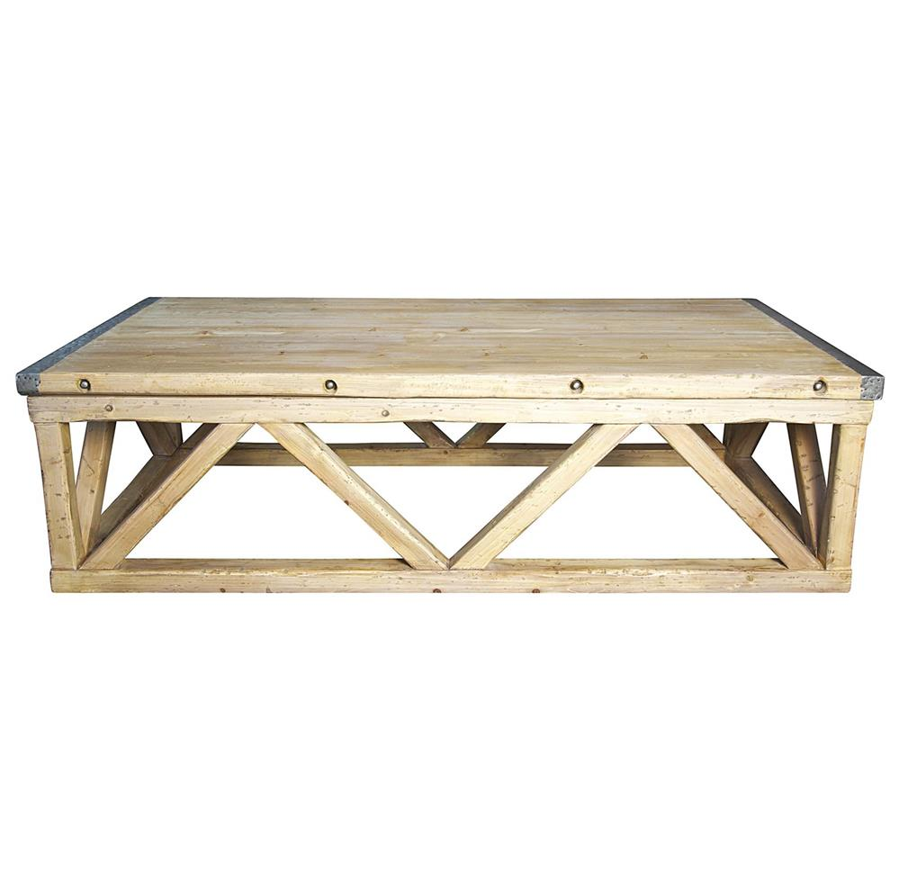 Industrial Renaissance Outdoor Coffee Table: Duncan Industrial Loft Metal Wood Coffee Table