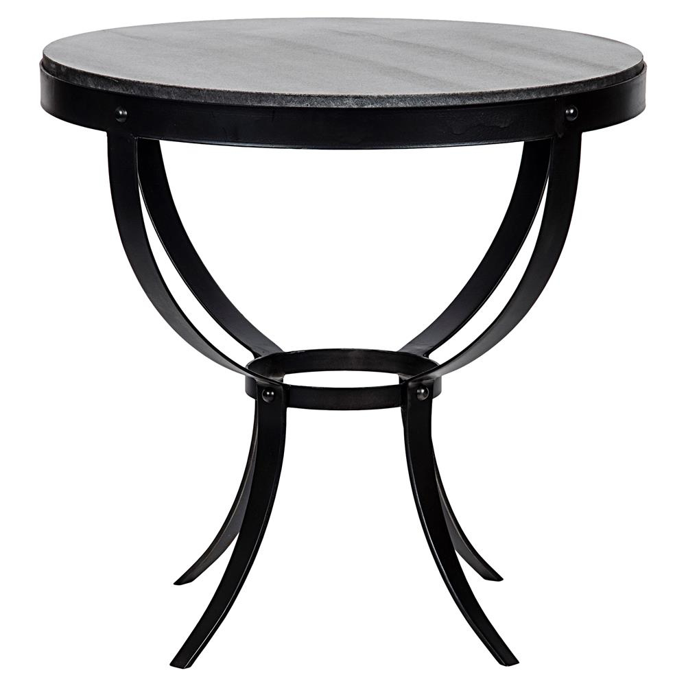 Logan Side Table ~ Logan industrial rustic metal stone top round side table
