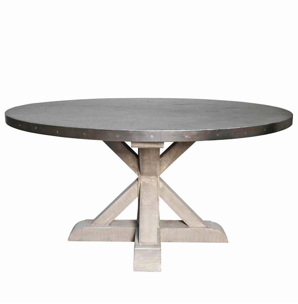 Zinc Dining Table French Lewiston Industrial Loft Zinc Top X Base Round Dining Table