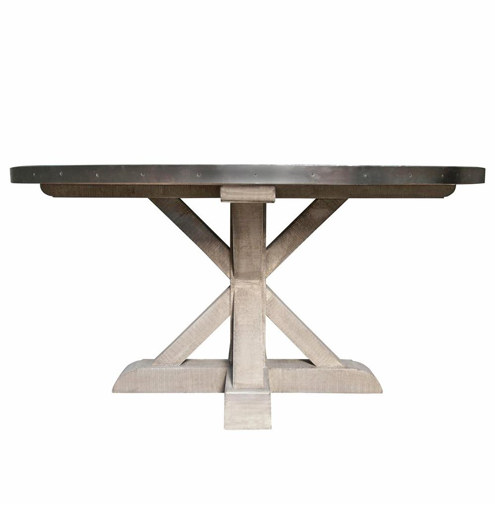 Lewiston industrial loft zinc top x base round dining table for Dining table base