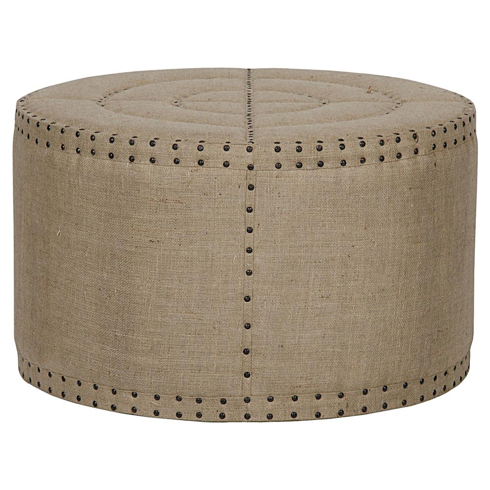 Adalene french country burlap rustic round coffee table
