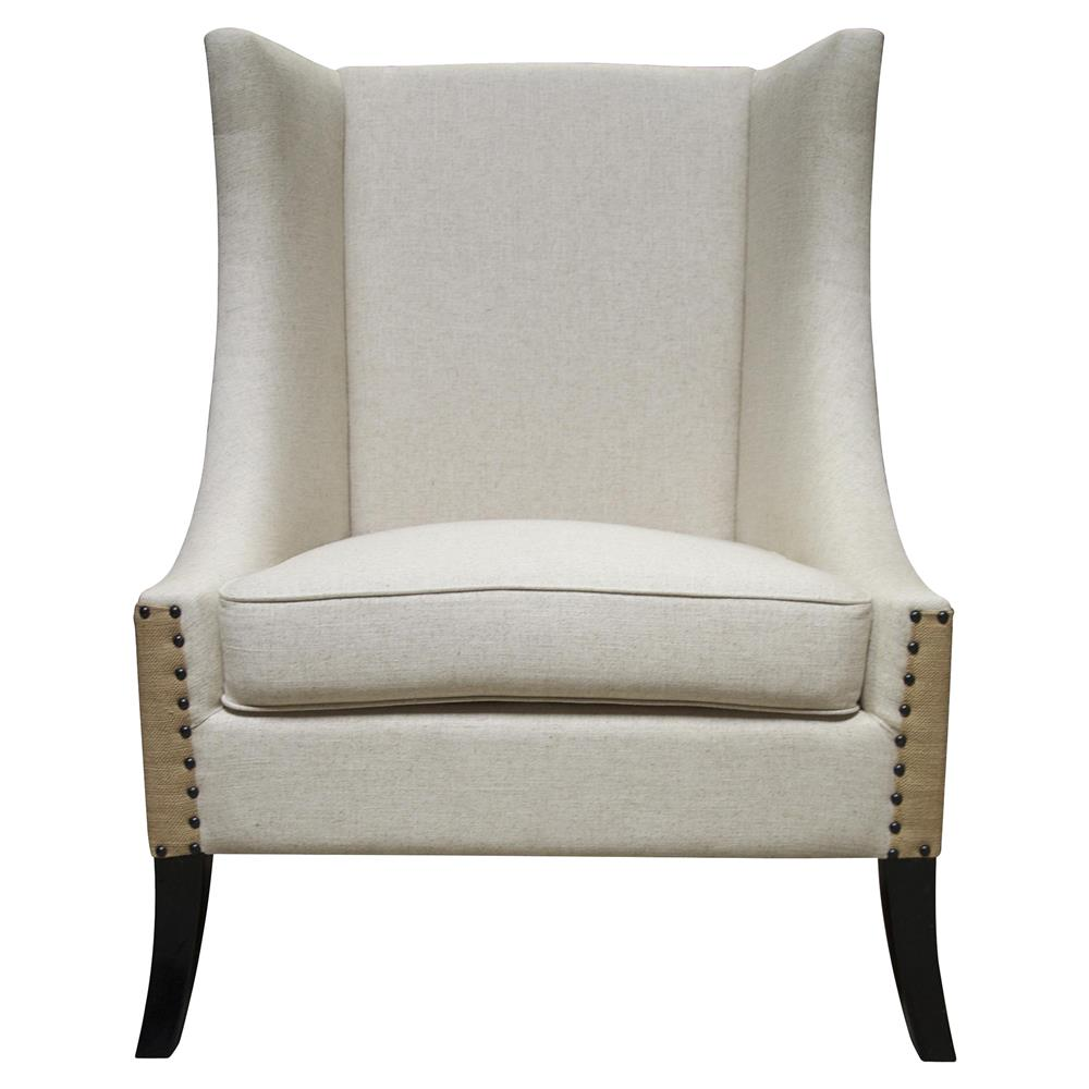 Somer French Country Two Tone Nailhead Wing Back Accent Chair