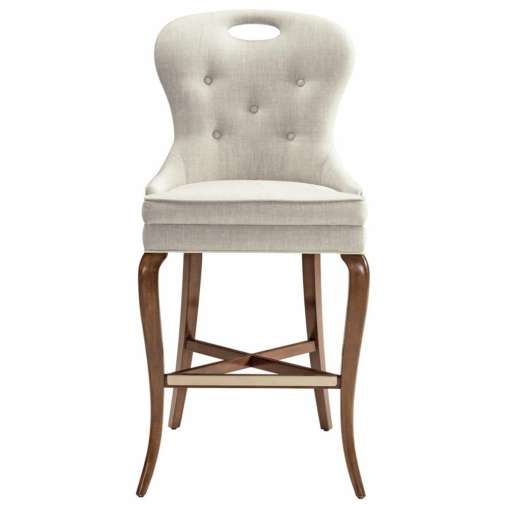 Anais modern classic tufted faux flax linen counter stool