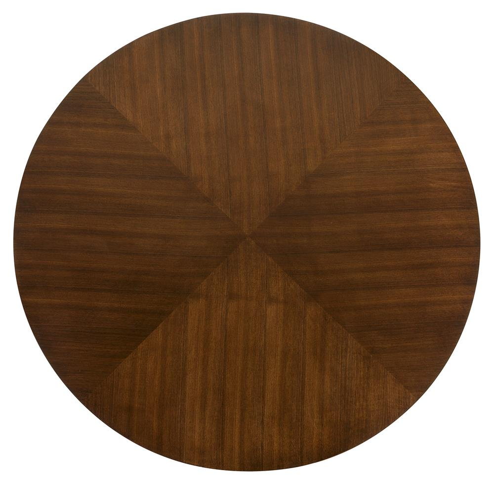 Dining Tables Hilda Modern Steel Walnut Pedestal Round Dining Table