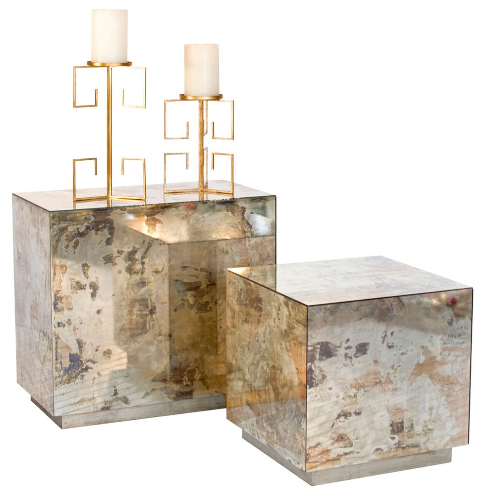 Fedro Hollywood Regency Silver Antique Mirror Cube Side Table