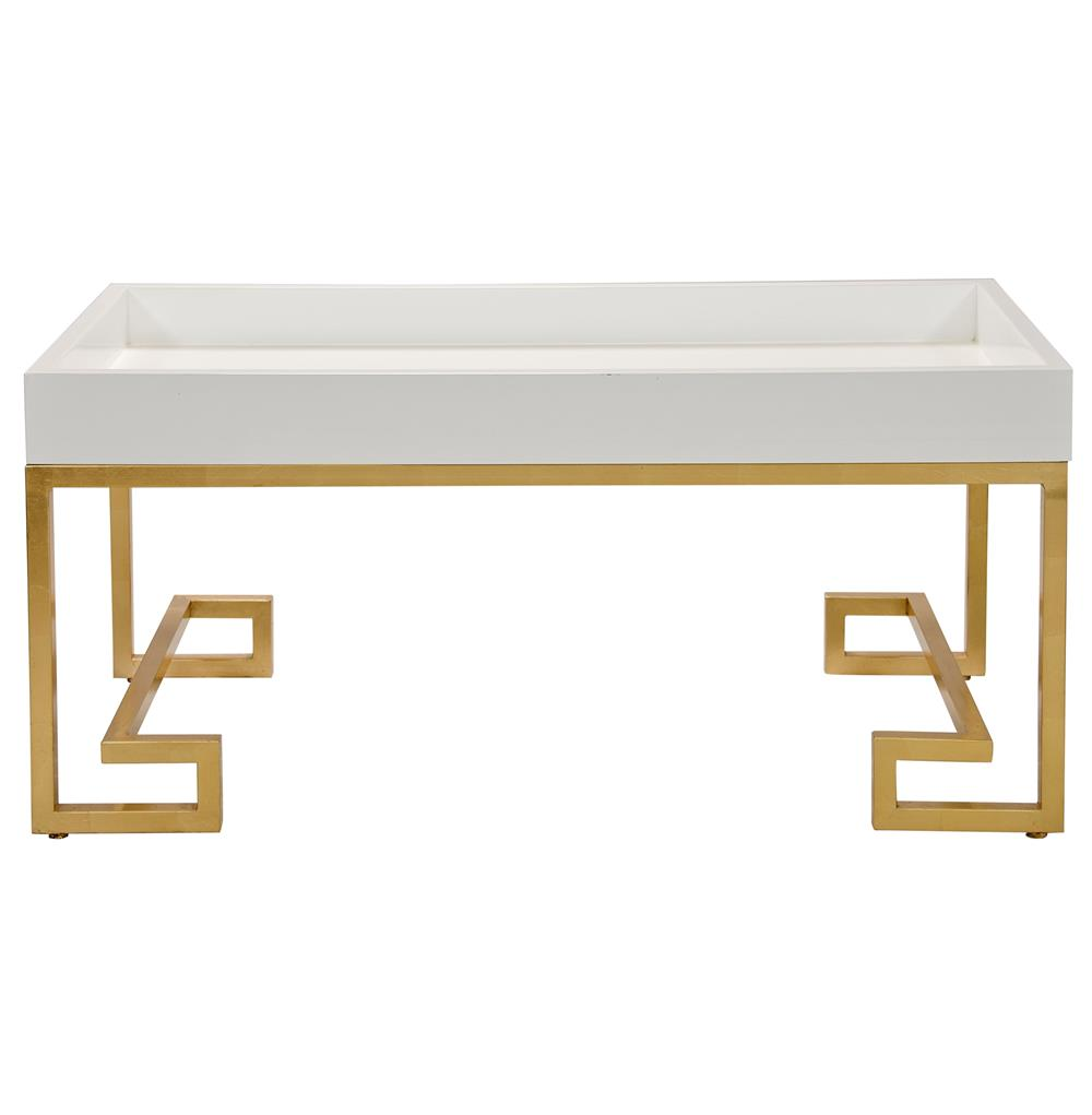 davinci hollywood regency white lacquer gold coffee table kathy kuo home. Black Bedroom Furniture Sets. Home Design Ideas