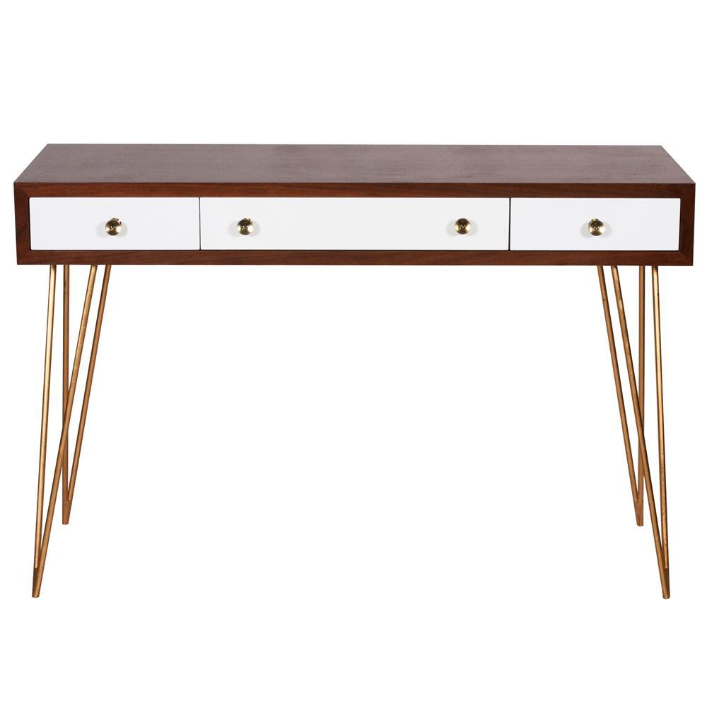 Hairpin Hollywood Regency White Walnut Wood Console Desk
