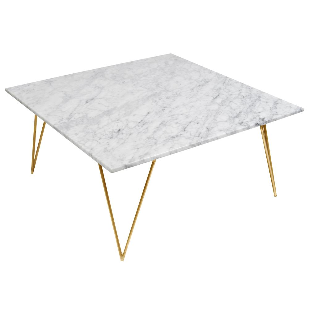 Piazza Hollywood Regency White Marble Gold Coffee Table