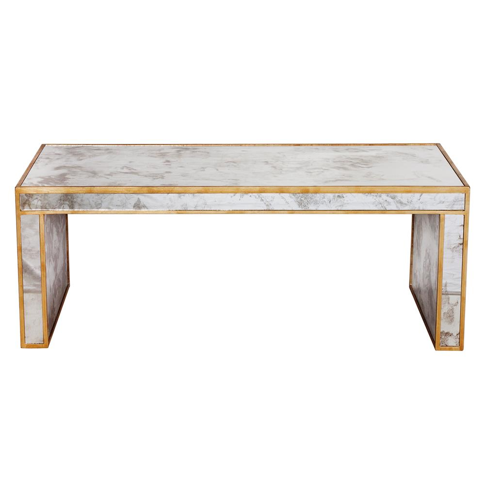 Antique Gold Mirrored Coffee Table: Spencer Hollywood Regency Antique Gold Mirror Coffee Table