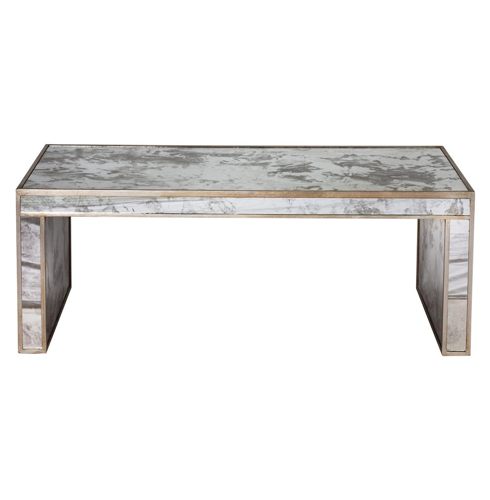 Antique Silver Glass Coffee Table: Spencer Hollywood Regency Antique Silver Mirror Coffee Table