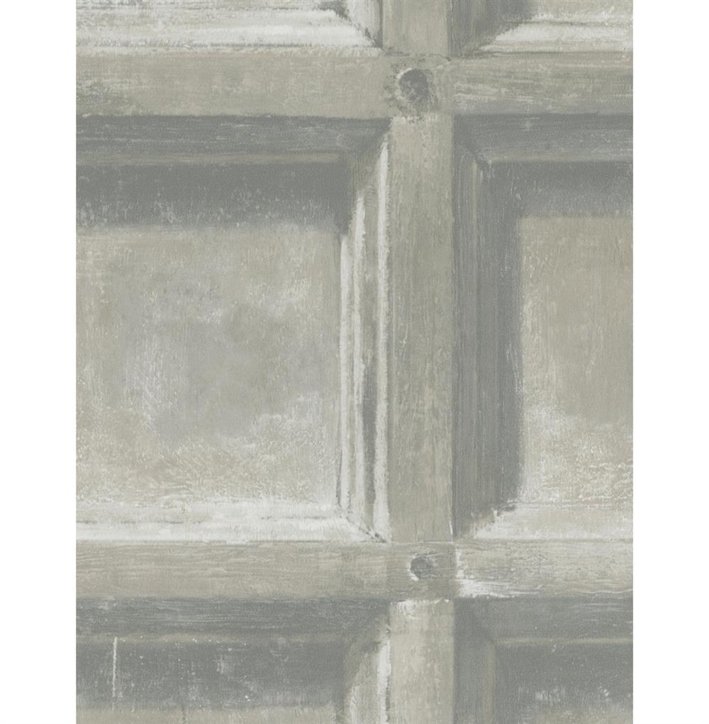 Trompe l 39 oeil wood panel wallpaper ash 2 rolls kathy kuo home - Wallpaper trompe houtlook ...