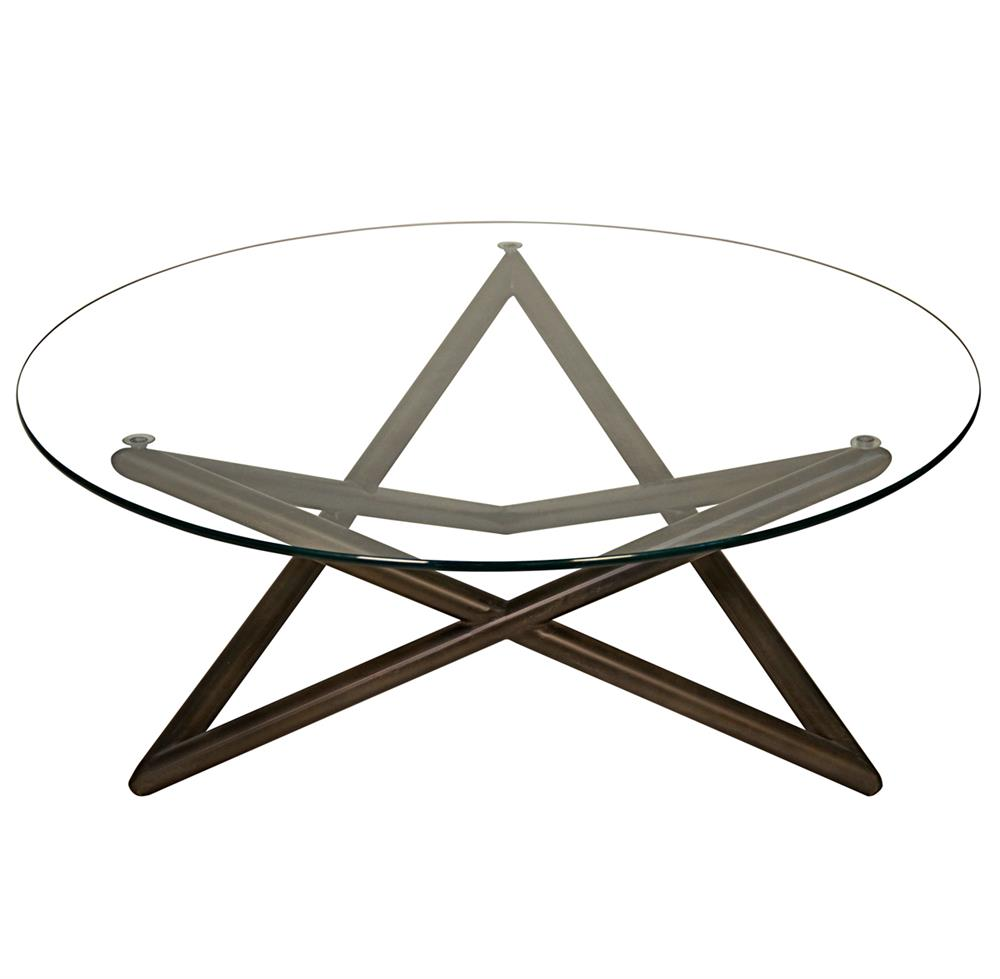 Tables Seton Industrial Loft Modern Glass Metal Round Coffee Table