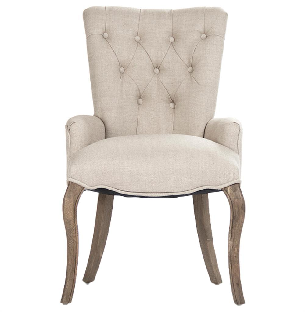 Iris Natural Linen Reclaimed Oak Tufted Vanity Dining Chair with ...