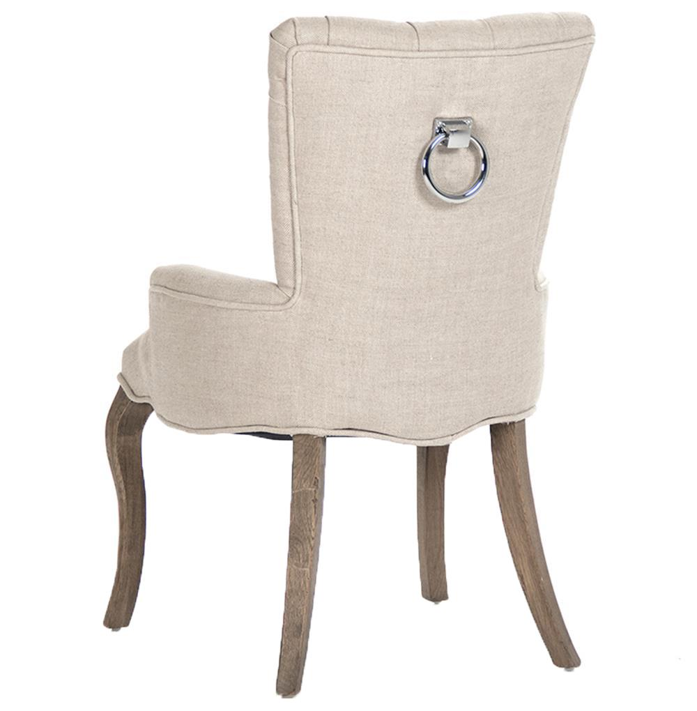 Greatest Iris Natural Linen Reclaimed Oak Tufted Vanity Dining Chair with Ring TM06