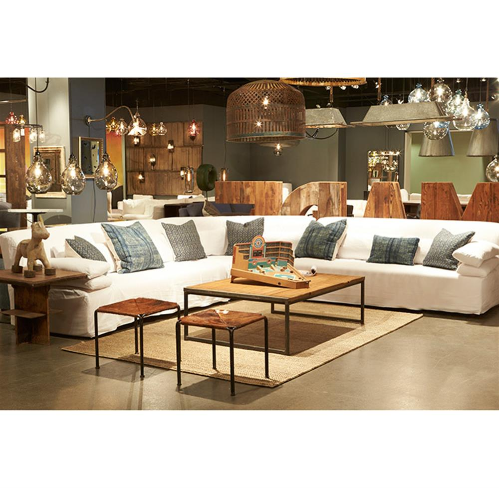 Grecko Feather Down Modern Coastal White Slipcover Sectional Sofa   117x117  | Kathy Kuo Home