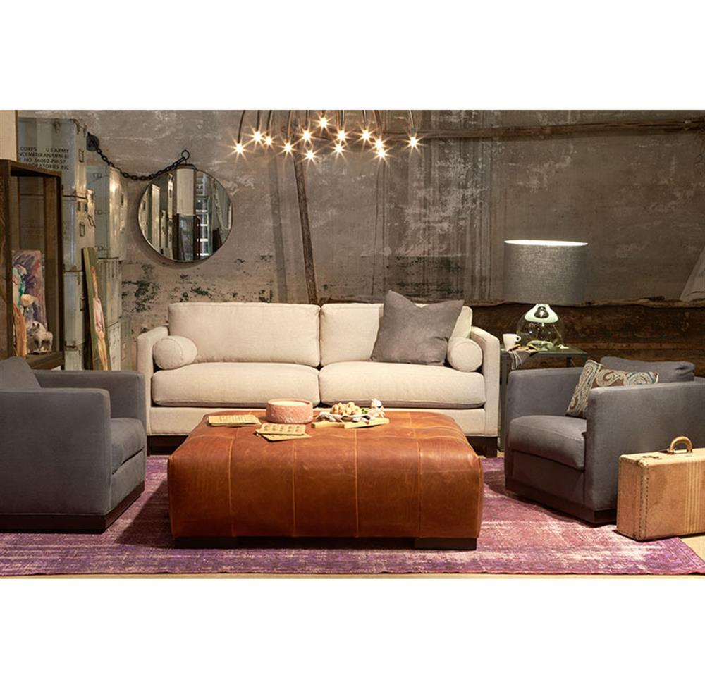 Cisco Brothers Arden Modern Classic Tufted Terracotta Leather Rectangle Coffee  Table Ottoman | Kathy Kuo Home