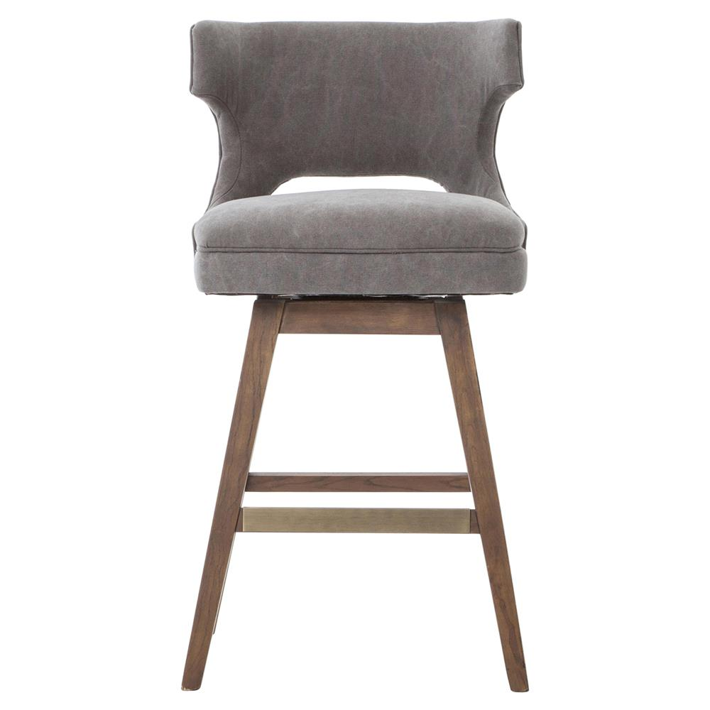 Greenwich Aspen Grey Canvas Wing Back Counter Stool