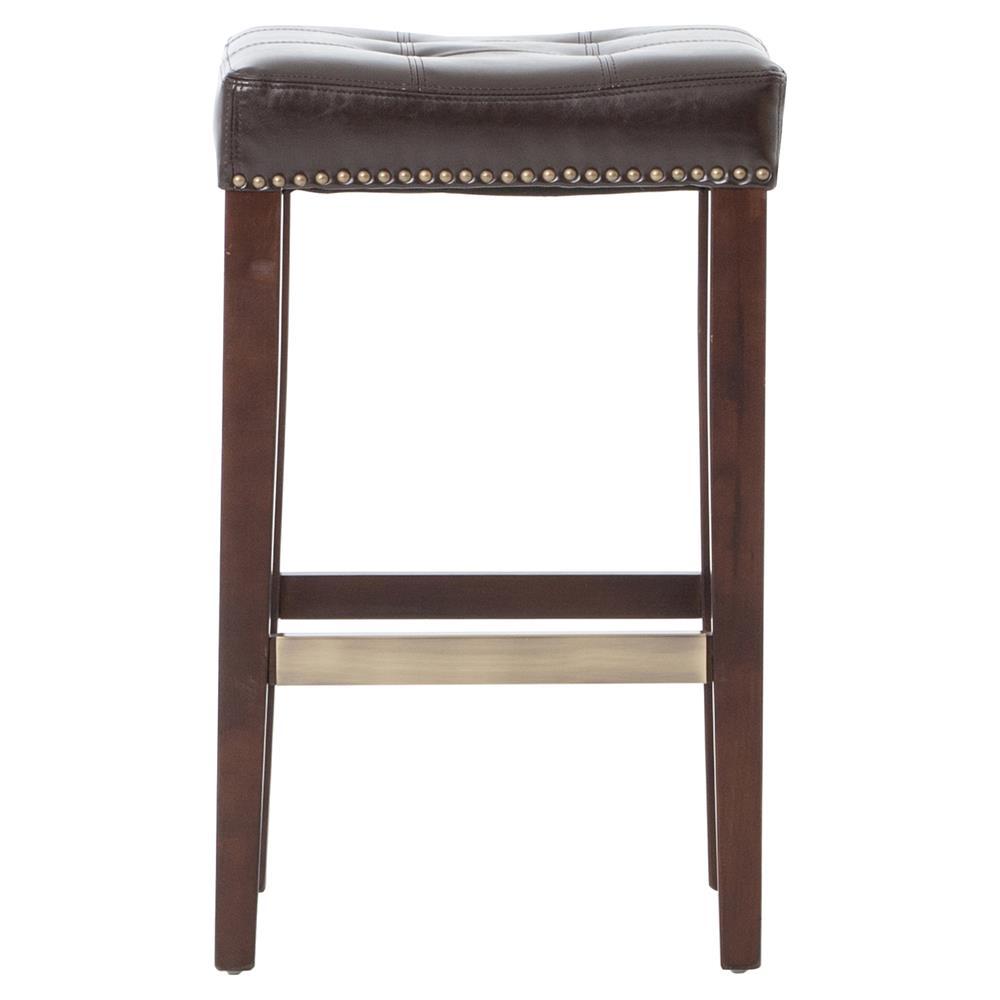 Milton Espresso Brown Leather Tufted Counter Stool Kathy