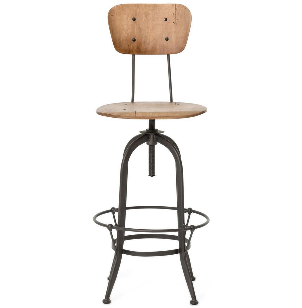 Jordan Industrial Loft Wood Iron Barstool With Back