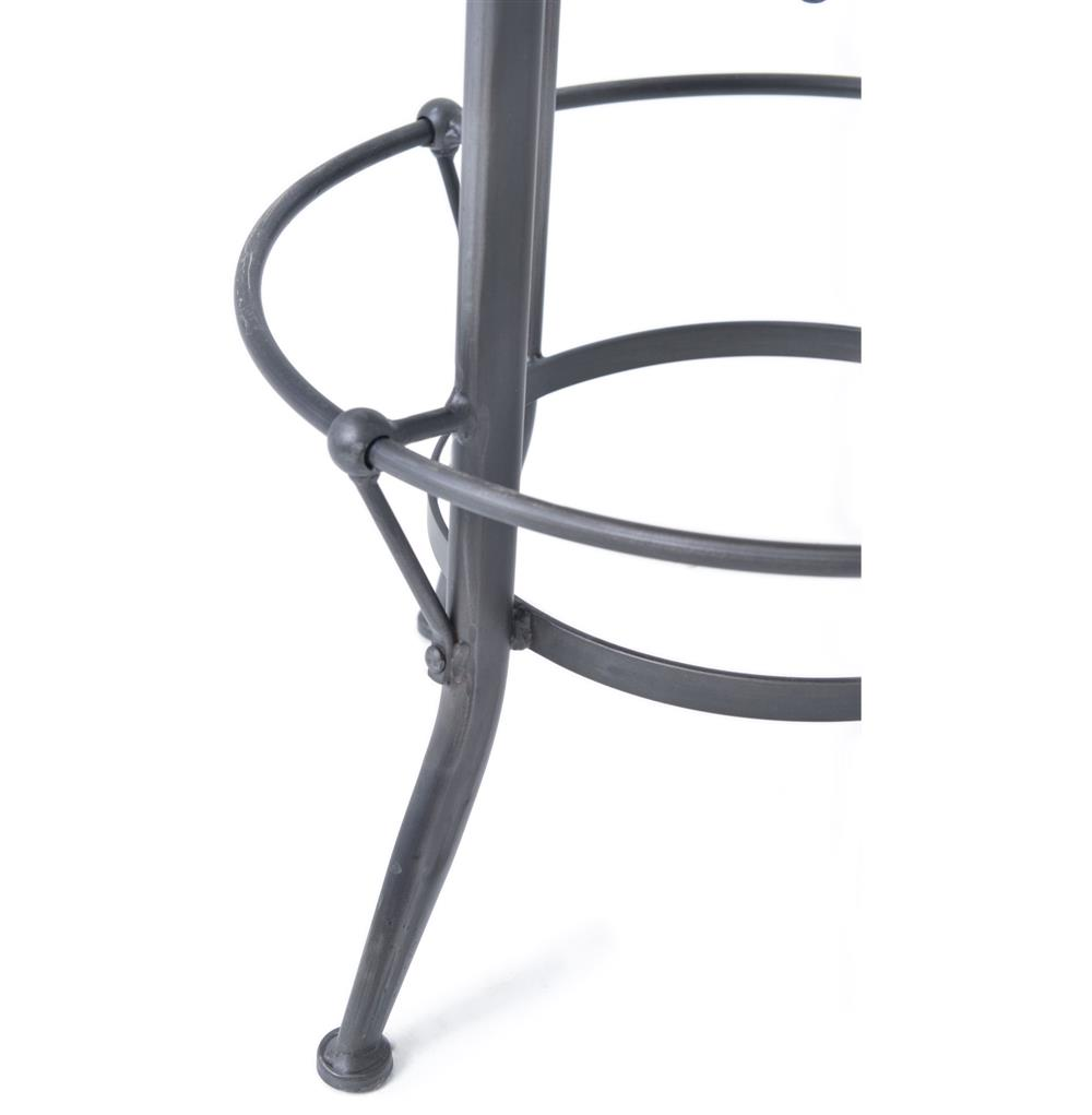 Jordan Industrial Loft Wood Iron Backless Swivel Barstool