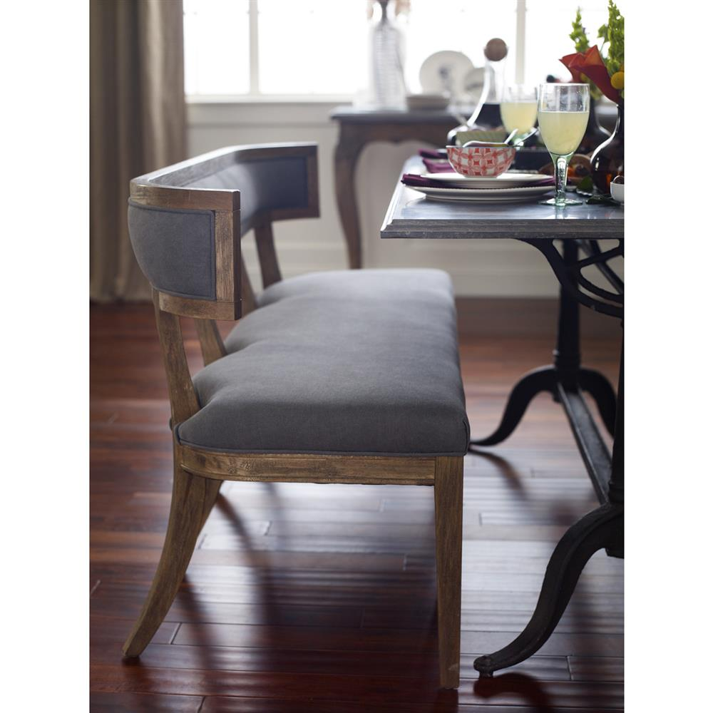 Dining Table With A Bench: Livingston Modern Classic Curved Back Grey Dining Bench
