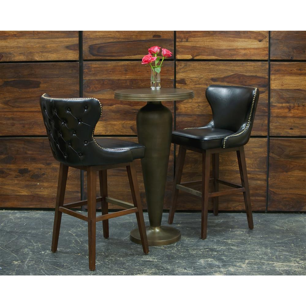 Dancy Masculine Black Leather English Tufted Swivel