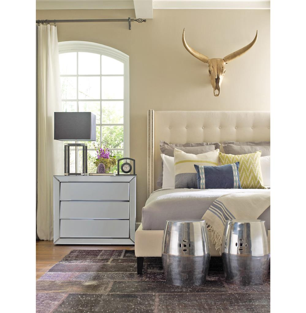 lennox uptown modern classic cream linen wingback bed queen kathy kuo home