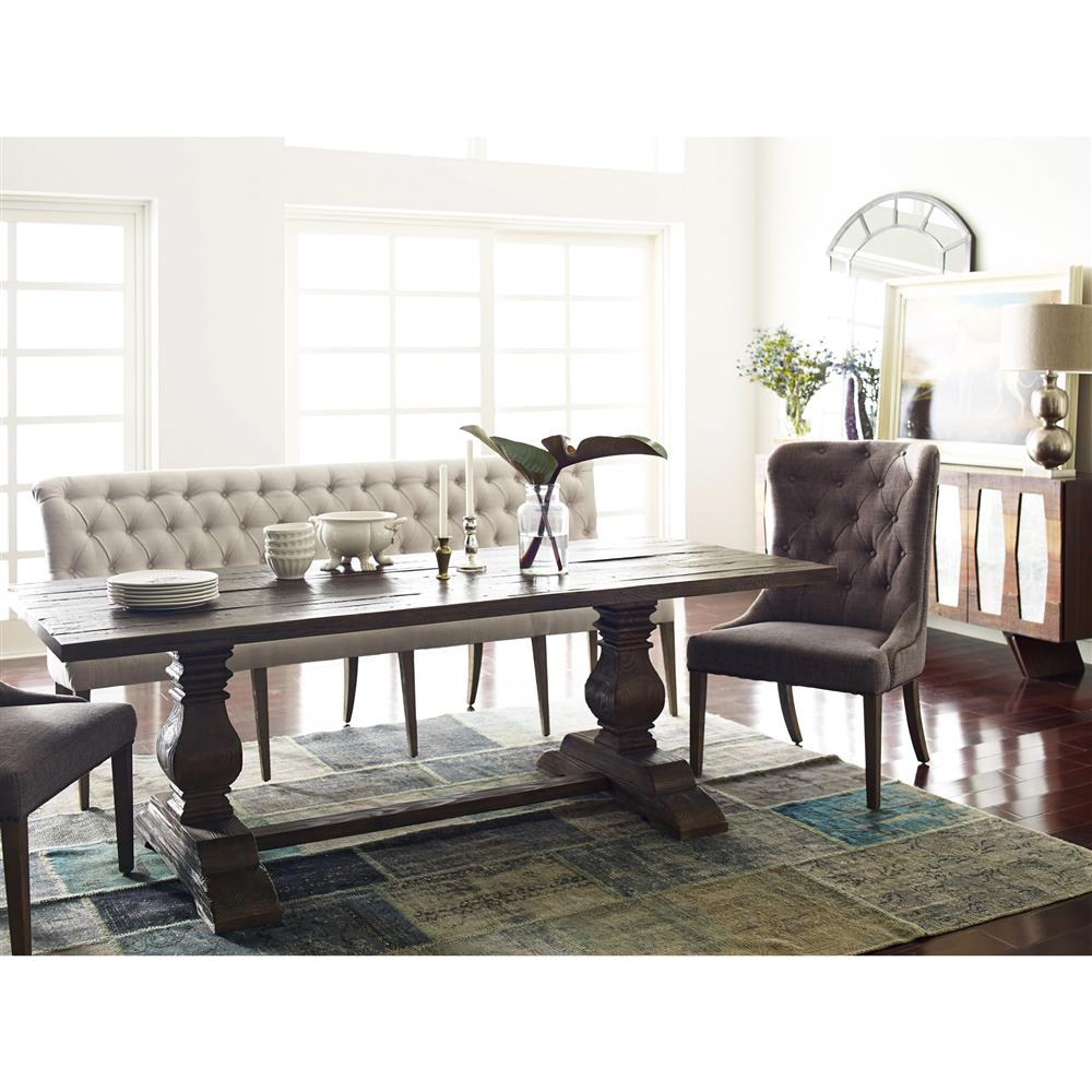 Country Dining Table With Bench: Andrea French Country Tufted Sand Long Dining Bench Banquette