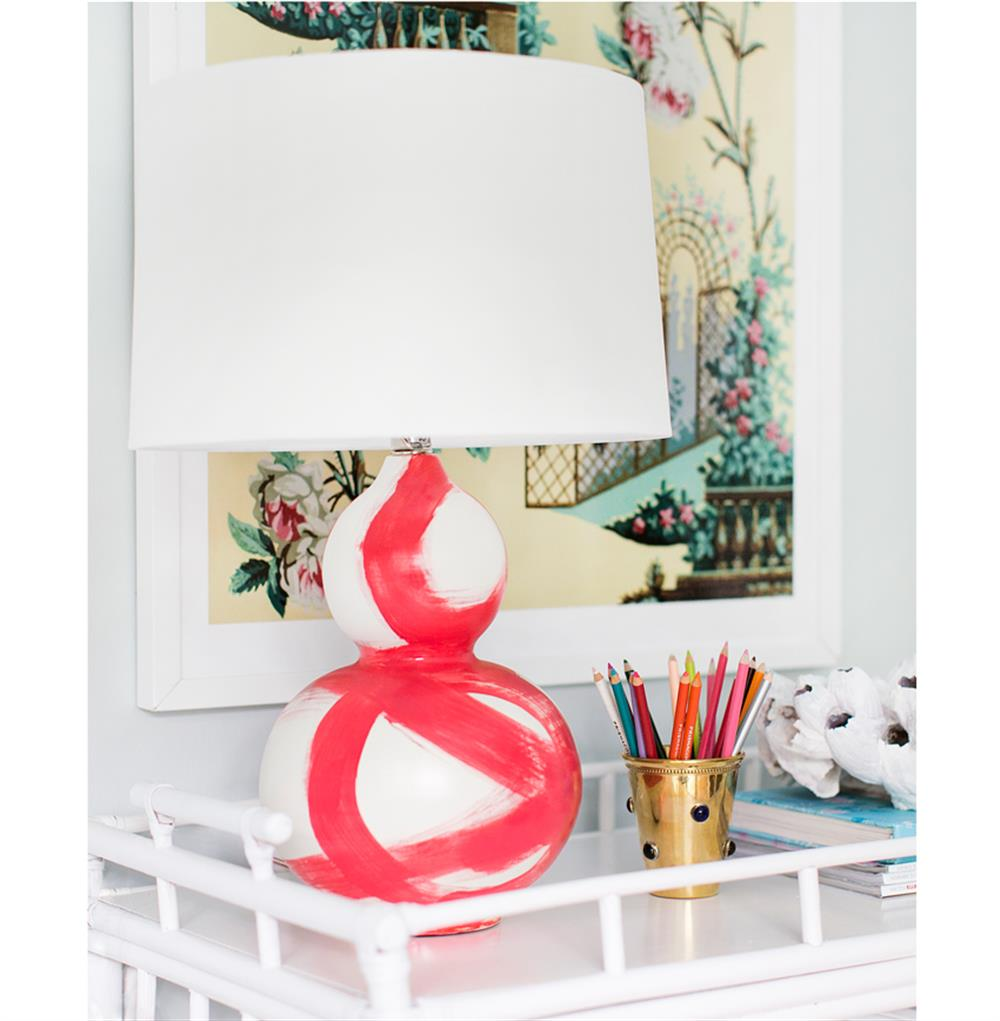 Hailey hand painted gourd shape brushstroke coral table lamp view full size mozeypictures Images