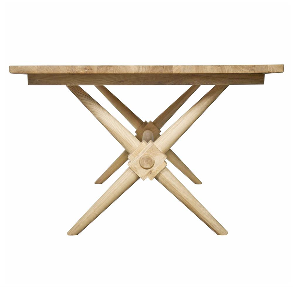 Nolan industrial loft x leg elm dining table kathy kuo home for X leg dining room table