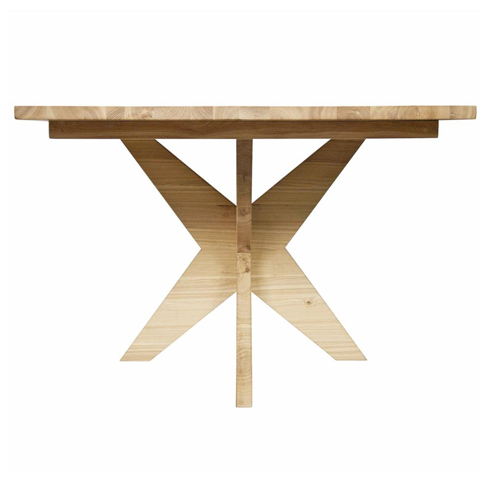 Colton industrial loft x leg elm dining table kathy kuo home for X leg dining room table