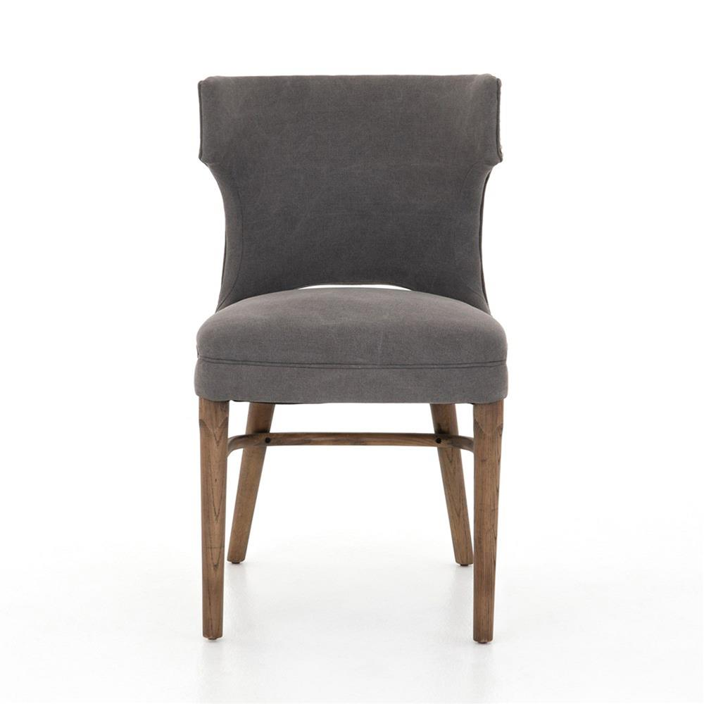 Greenwich curved back charcoal grey canvas dining chair for Canvas dining