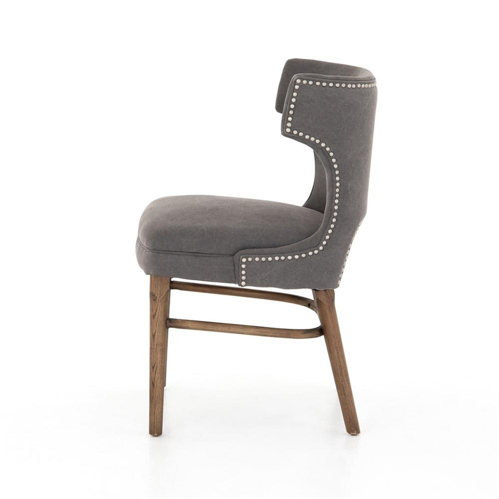 Greenwich Curved Back Charcoal Grey Canvas Dining Chair Kathy Kuo Home