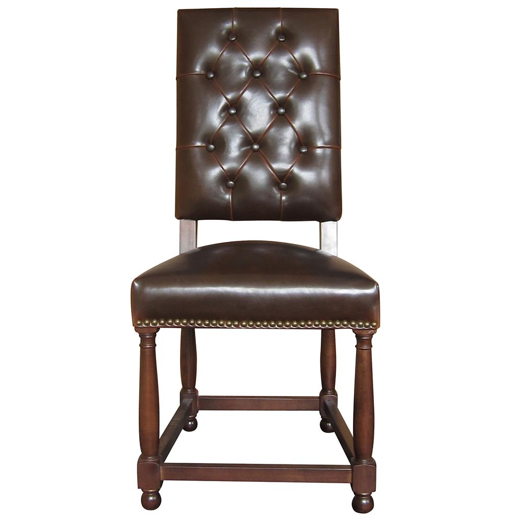 Charles French Country Brown Leather High Back Dining Room Chair Kathy Kuo