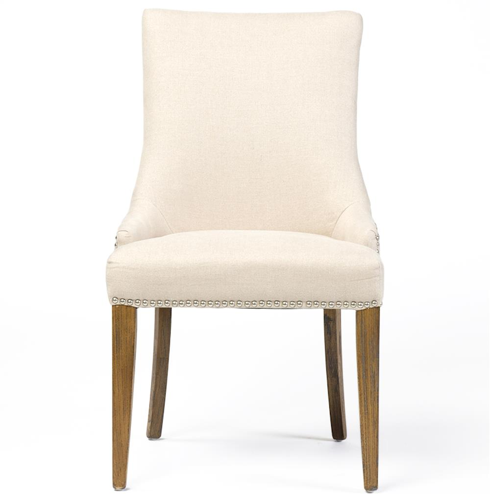 Selena Hollywood Regency Nailhead Cream Linen Dining Chair