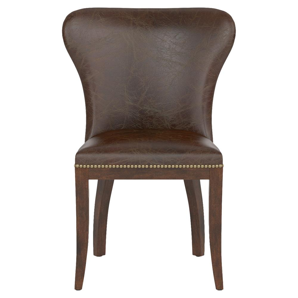 Cornelius top grain cigar brown leather dark wood dining for Brown leather dining room chairs