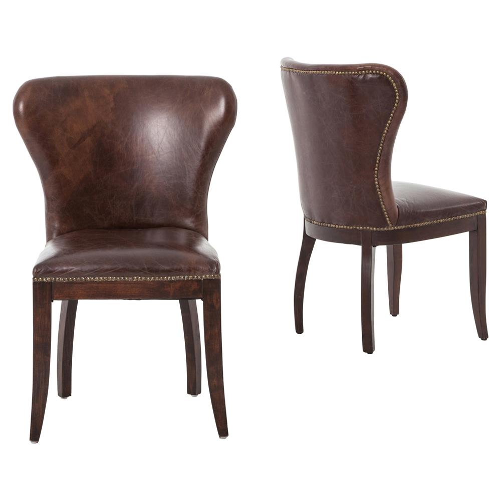 cornelius top grain cigar brown leather dark wood dining chair pair. Black Bedroom Furniture Sets. Home Design Ideas