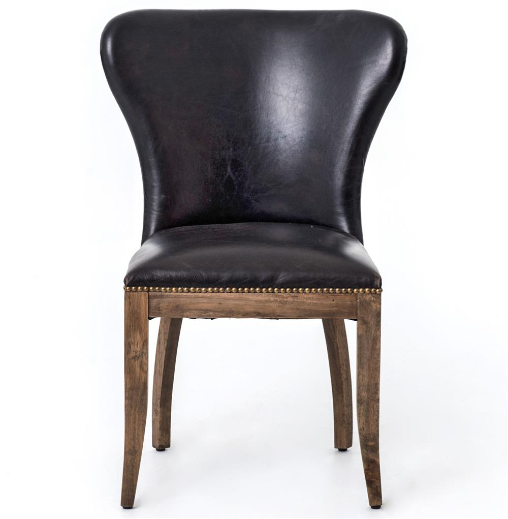 cornelius top grain cigar black leather weathered oak dining chair. Black Bedroom Furniture Sets. Home Design Ideas