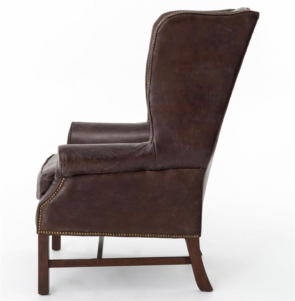 Bishop Masculine Top Grain Cigar Brown Leather Wing Chair | Kathy Kuo Home