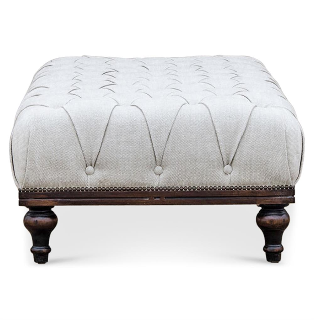 Delaqueva Tufted White Linen French Country Coffee Table Ottoman Kathy Kuo Home