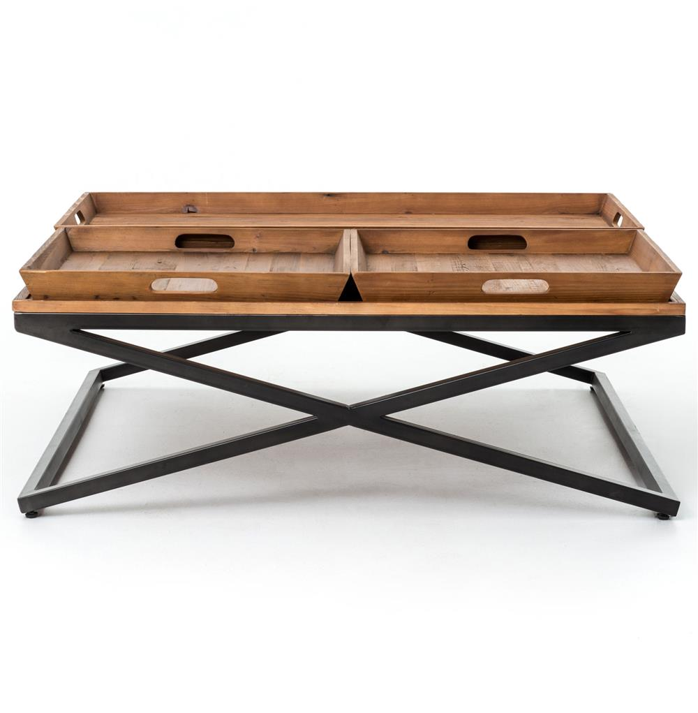 Jaxon Trio Tray Top Wood Iron Industrial Square Coffee Table | Kathy ...