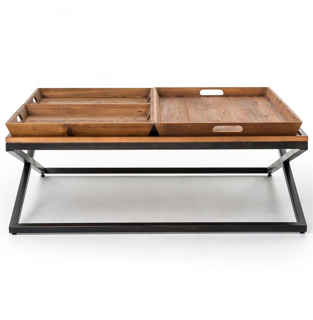 Jaxon trio tray top wood iron industrial square coffee for Trays on coffee tables