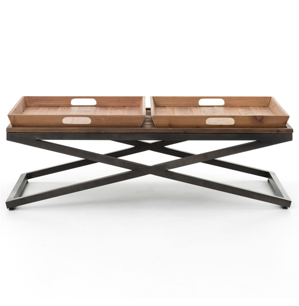 Jaxon Double Tray Top Wood Iron Industrial Rectangle Coffee Table Kathy Kuo Home