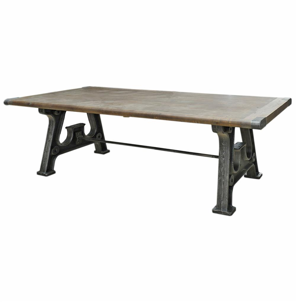 boone industrial reclaimed grey wood cast iron 86 dining table. Black Bedroom Furniture Sets. Home Design Ideas