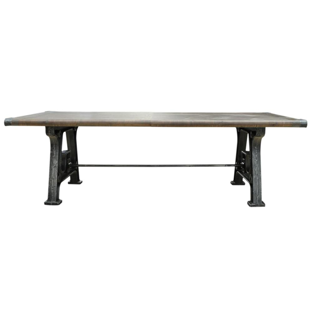 Boone industrial reclaimed grey wood cast iron 86 dining for Cast iron dining table