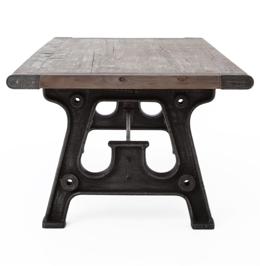 Boone Industrial Reclaimed Grey Wood Cast Iron 86 Dining Table Kathy