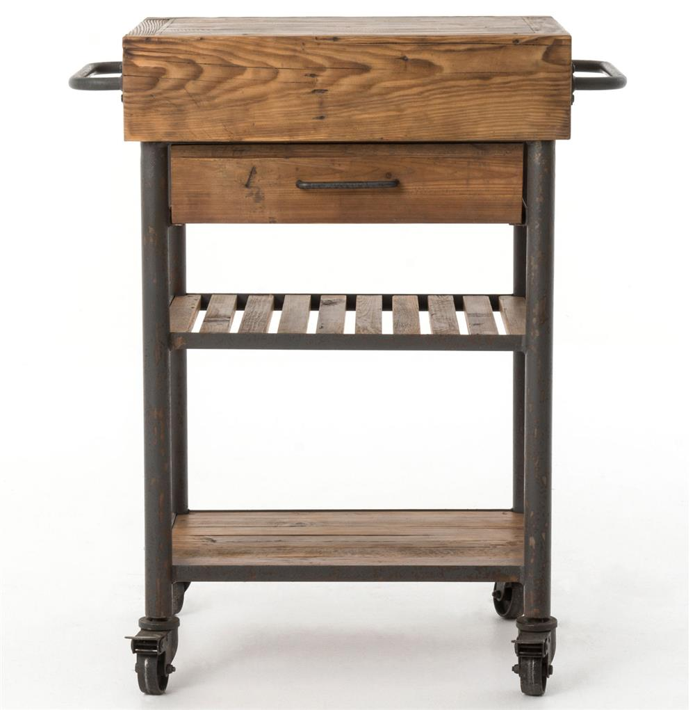Rustic Kitchen Islands For Sale: Kershaw Rustic Chunky Reclaimed Wood Iron Single Drawer