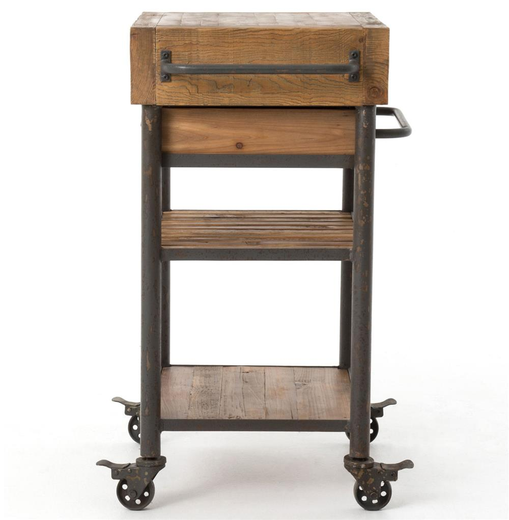 Rustic Kitchen Island Cart Kershaw Rustic Chunky Reclaimed Wood Iron Single Drawer Kitchen